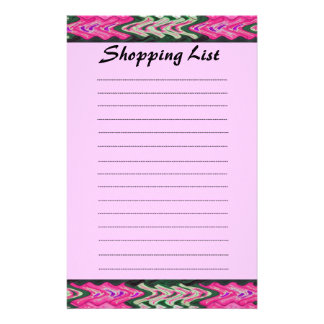 Shopping List pink green pattern Stationery