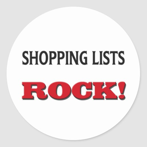 Shopping Lists Rock Round Stickers