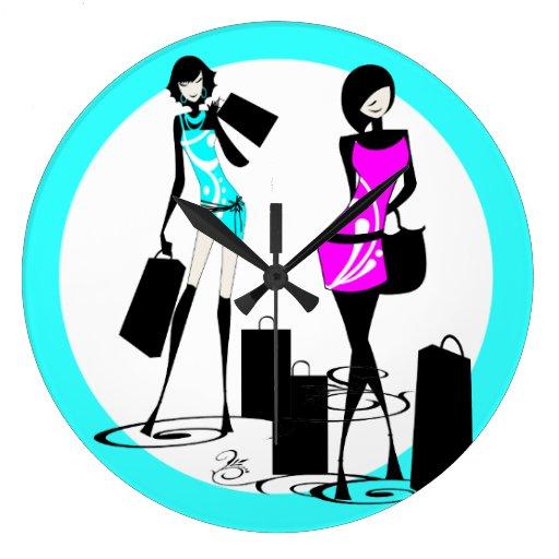 Shopping models blue pink girls wall clock