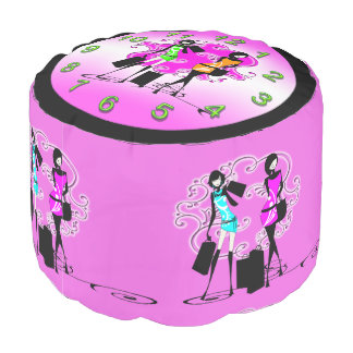 Shopping models girly time round pouf