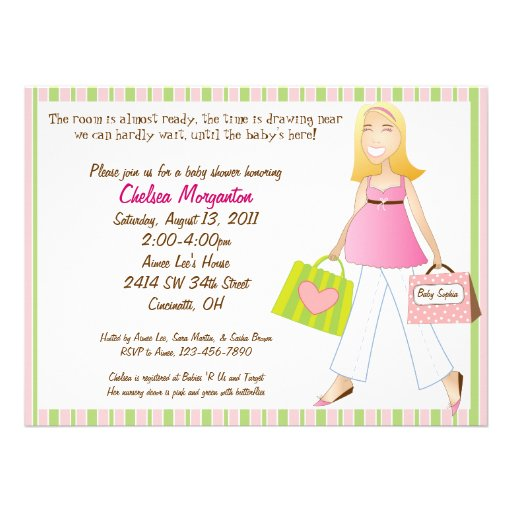 shopping mom baby girl shower invitation with poem 5 5 x 7 5