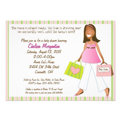 "Girl Baby Shower Poems: Shopping Mom Baby Girl Shower Invitation With Poem 5.5"" X"