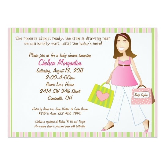 Shopping Mom Baby Girl Shower Invitation with Poem