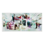 shopping montage abstract poster