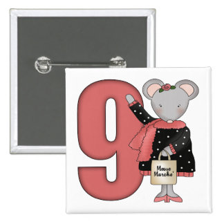 Shopping Mouse 9th Birthday Gifts Pinback Button