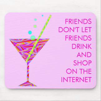 Shopping Online Humor Martini Glass Art Mouse Pad