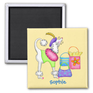 Shopping Poodle Whimsy Dog Art Yellow 2 Inch Square Magnet