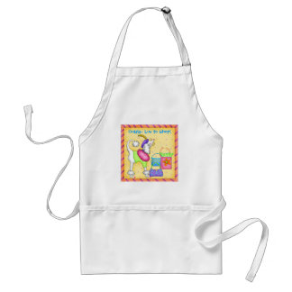 Shopping Poodle Whimsy Dog Art Yellow Aprons