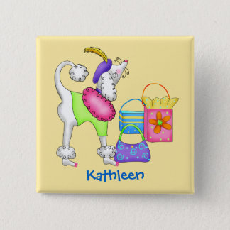 Shopping Poodle Whimsy Dog Art Yellow Button