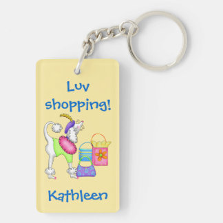 Shopping Poodle Whimsy Dog Art Yellow Keychain