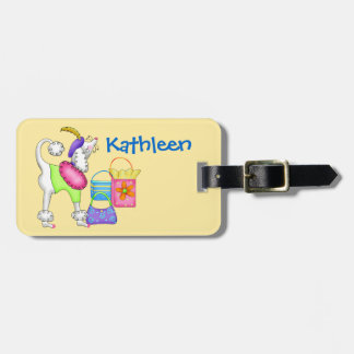 Shopping Poodle Whimsy Dog Art Yellow Tag For Bags