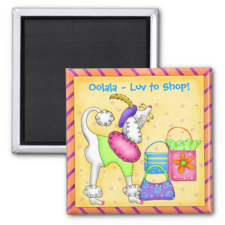 Shopping Poodle Whimsy Dog Art Yellow Magnet