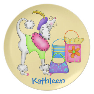 Shopping Poodle Whimsy Dog Art Yellow Plate