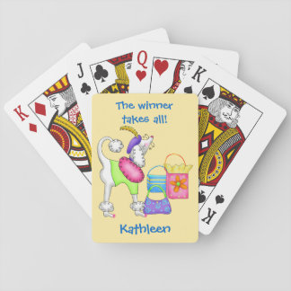 Shopping Poodle Whimsy Dog Art Yellow Poker Cards