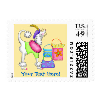 Shopping Poodle Whimsy Dog Art Yellow Stamp