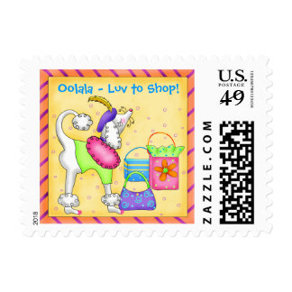 Shopping Poodle Whimsy Dog Art Yellow Postage Stamps