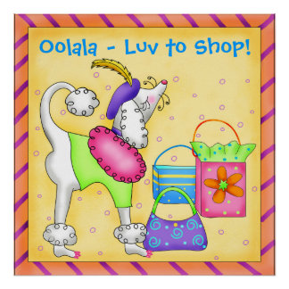 Shopping Poodle Whimsy Dog Art Yellow Poster