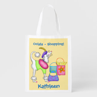 Shopping Poodle Whimsy Dog Art Yellow Reusable Grocery Bag