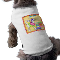 Shopping Poodle Whimsy Dog Art Yellow Tee