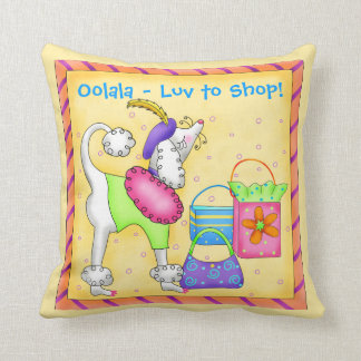 Shopping Poodle Whimsy Dog Art Yellow Throw Pillow