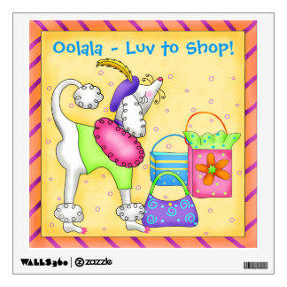 Shopping Poodle Whimsy Dog Art Yellow Wall Sticker