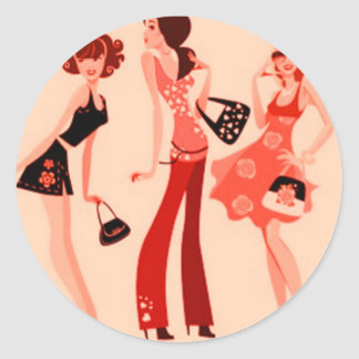 SHOPPING QUEEN COLLECTION CLASSIC ROUND STICKER