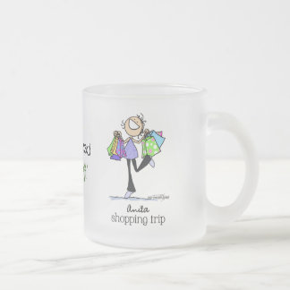 Shopping Sale Lady Frosted Glass Coffee Mug