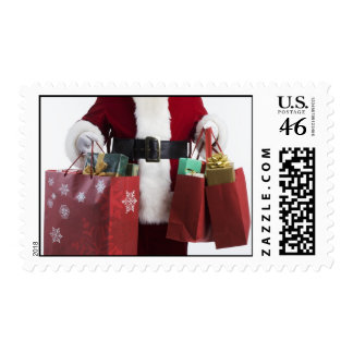 Shopping Santa Claus Holiday Postage Stamps
