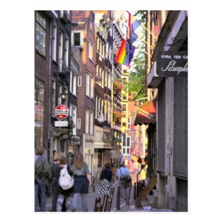 Shopping street in old, Amsterdam Postcard