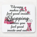 Shopping Therapy Pink Fashion Mouse Pad