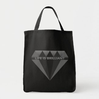 Shopping Tote Bag Life Is Brilliant Diamond Black