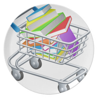 Shopping trolley books party plates