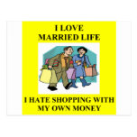 shopping wife joke postcard