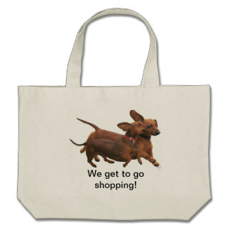 Shopping with Dachshunds Canvas Bag