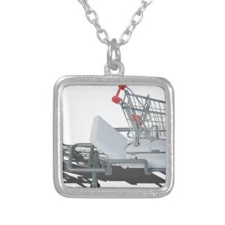 ShoppingCartOnGurney092715 Square Pendant Necklace