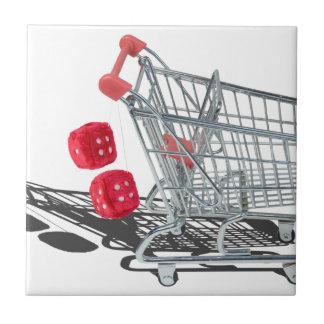 ShoppingCartWithFuzzyDice092715 Ceramic Tile