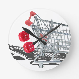 ShoppingCartWithFuzzyDice092715 Reloj Redondo Mediano