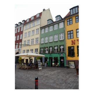 Shops & Restaurants, Nyhaven, Copenhagen Denmark Postcard