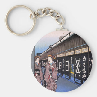Shops with Cotton Goods in Ōdenma-chō (大てんま町木綿店) Basic Round Button Keychain