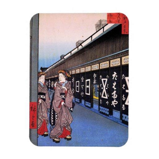Shops with Cotton Goods in Ōdenma-chō (大てんま町木綿店) Rectangular Photo Magnet