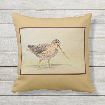 Beach Themed Shore Bird- Common Snipe Throw Pillow