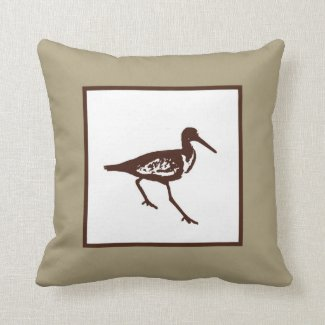 Shore Bird Silhouette Throw Pillow