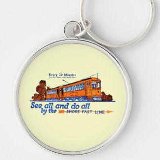 Shore Fast Line Trolley Service Key Chains Silver-Colored Round Keychain