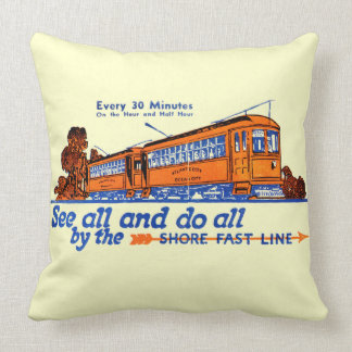 Shore Fast Line Trolley Service Throw Pillow