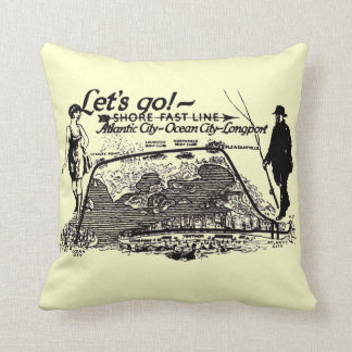 Shore Fast Line Trolleys Vintage 1910 Throw Pillow