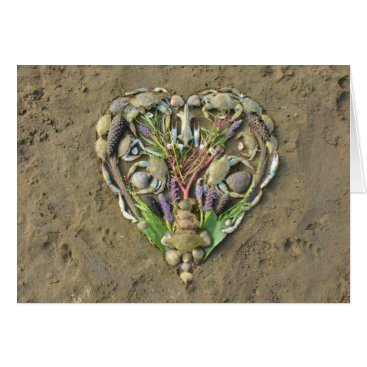 Valentines Themed Shore heart nature art card