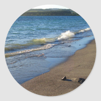 Shore of Lake Taupo, New Zealand. Classic Round Sticker