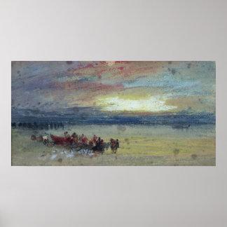 Shore Scene, Sunset Poster