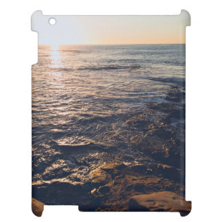 Shore Themed, Water Of An Ocean Shining Golden Due iPad Covers