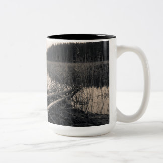 Shore trees Two-Tone coffee mug
